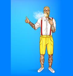 pop art tattooed bearded man vector image