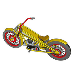 red and yellow vintage chopper motorcycle on vector image