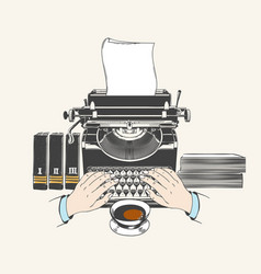 Retro type writer machine vector