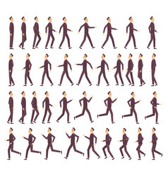 running man businessman fast running keyframe vector image