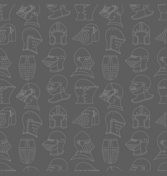 Seamless pattern with medieval helmets on a gray vector