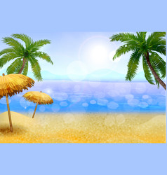 Seaside with palms and a beach vector