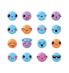 Set kawaii emoji emotion design icon vector