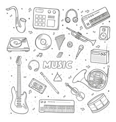 Set of a various musical instruments contour vector