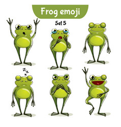 set of cute frog characters set 5 vector image
