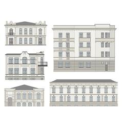 Set of detailed historical building facades vector