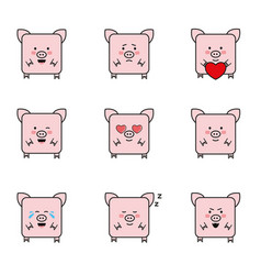 Set of funny 9 pigs icons vector