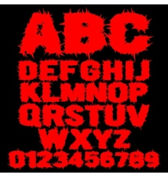 Set of red studded scary alphabet vector