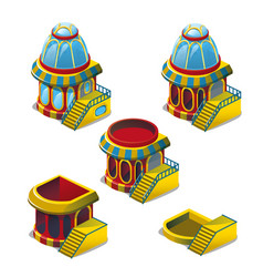 Set of stages of construction of fish house vector