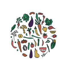 set of vegetables doodle composition vector image