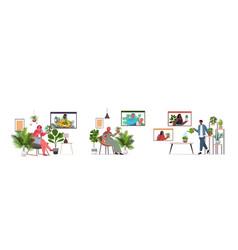 set people taking care houseplants having vector image