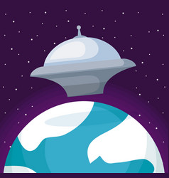 spaceship with planet earth icon vector image