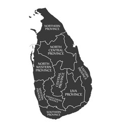 sri lanka map labelled black vector image