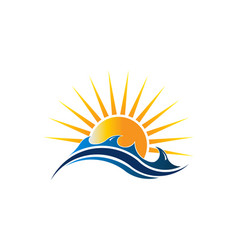 sunshine seascape logo vector image