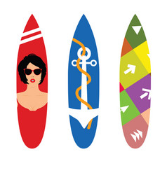 Surfboard set in various poses color vector