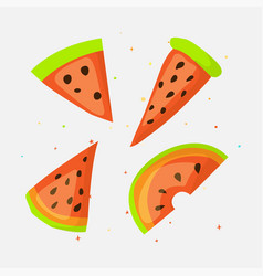Sweet a slice of watermelon with green skin set on vector