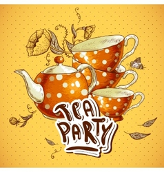 Tea party invitation card with a Cups and Pot vector image