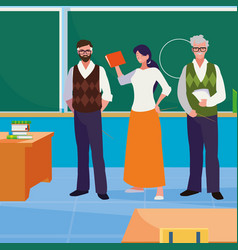 Teachers group in classroom characters vector