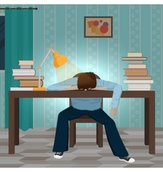 Tired student fall asleep on book vector