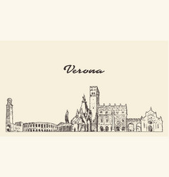 verona skyline italy hand drawn sketch vector image