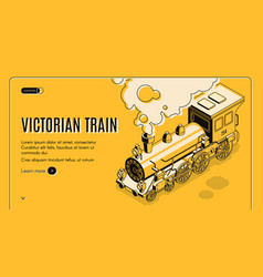 victorian era train isometric web page vector image