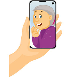 video call with grandma - phone in hand - stay vector image