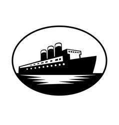 Vintage passenger boat or ocean liner oval retro vector