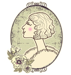 Vintage woman portrait vector image