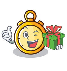 With gift chronometer character cartoon style vector