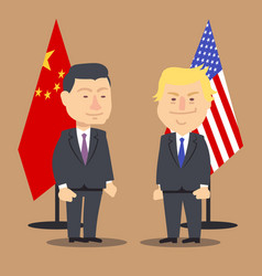 Xi jinping and donald trump standing together vector