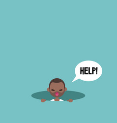 Young black man calling for help in pit vector