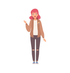 Young woman stands waving with hand smiling flat vector