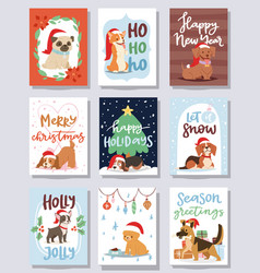 christmas 2018 dog card cute cartoon puppy vector image