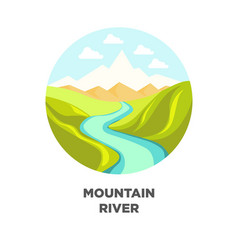 mountain river landscape isolated icon for vector image vector image