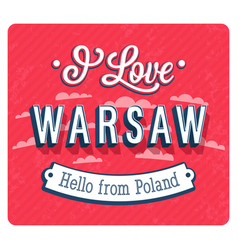 vintage greeting card from warsaw vector image vector image