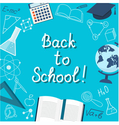 Banner back to school on the blue vector