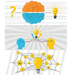 brainstorm creative banner concept set flat style vector image vector image