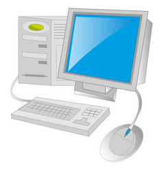 computer on white background vector image