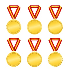 Golden Medals with Ribbons vector image vector image