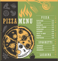 Pizza menu document print template with pizza draw vector