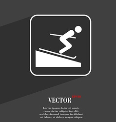 Skier symbol Flat modern web design with long vector image