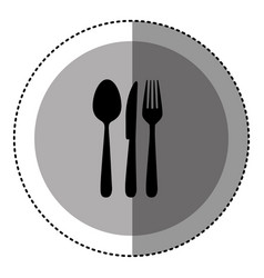 sticker monochrome circular emblem with cutlery vector image vector image