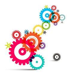 Transparent Colorful Wheals - Cogs - Gears on vector image vector image