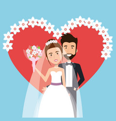 wedding ceremony bride and groom together with vector image vector image