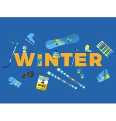 Abstract with word winter and icons vector image vector image