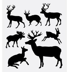 Deer wild animal silhouette vector image vector image