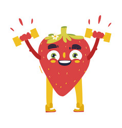 funny strawberry working out lifting dumbbells vector image vector image