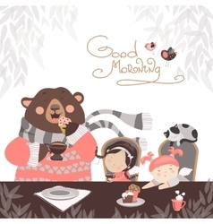 Girls drinking tea with a cute bear vector image