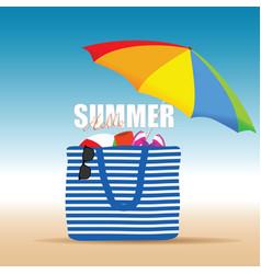 Hallo summer on color bag with beach accesoir vector