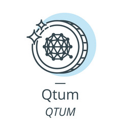 qtum cryptocurrency coin line icon of virtual vector image vector image